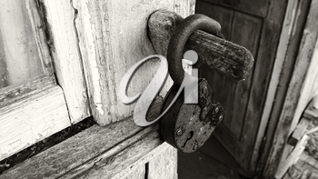 Horizontal sepia opened door lock background