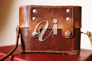 Vintage leather camera case background