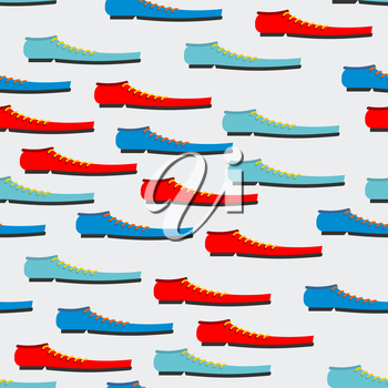 Trendy colorful shoes seamless pattern. Background of boot. Texture for baby tissue.