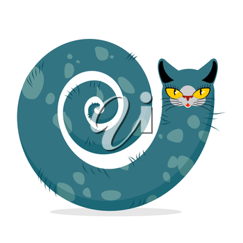 Snake cat. Fantastic, mythical pet. Cute dreamlike beast Head cat and tail of snake.