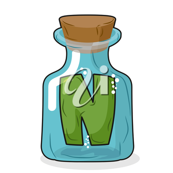 N in magical bottle. Letter in a bottle for laboratory and scientific research. Vector illustration.