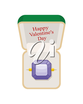 Happy Valentines day. Amethyst ring in  box. Jewelry on a white background. Beautiful ring in green Open box for engagements and weddings