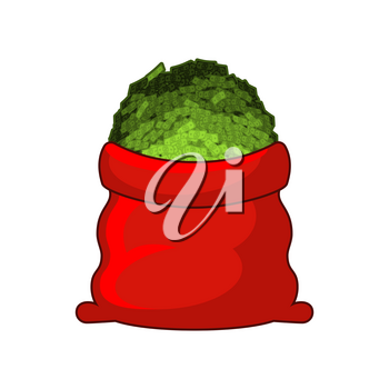 Santa red sack with money. Happy New Year. Big bag of cash. Lot of dollars as gift.