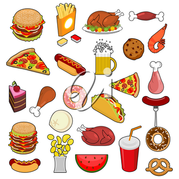 Fast Food big set. Signs of feed. Icon Collection of meat. Pizza and tacos. French fries and a hamburger. Hotdog and cookies. Baked turkey and watermelon. Pork and cake. Donuts and dumplings