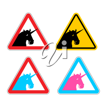 Warning sign of attention unicorn. Dangers of yellow sign with magic animal horn. LGBT character in red triangle. Set of road signs