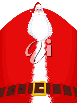 Santa Claus high and belt. Huge Christmas grandfather. Enormous Santa with beard in red suit. Illustration for new year