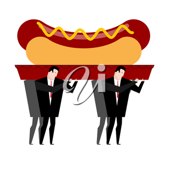 Funeral hot dog. Fast food is carried in coffin. burial of junk food. Illustration for healthy diet