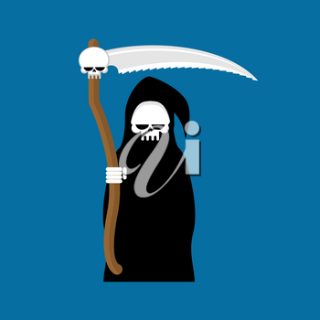 Grim Reaper with scythe isolated. Death in hood on white background