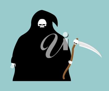 fat Grim Reaper with scythe isolated. Death in hood on white background