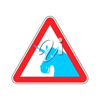 Attention unicorn. Dangers of red road sign. LGBT Caution