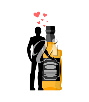 Lover alcohol drink. Man and bottle of whiskey embrace. Lovers cuddle. Romantic date. Alcoholic Lifestyle