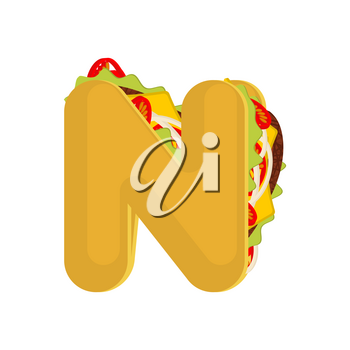 Letter N tacos. Mexican fast food font. Taco alphabet symbol. Mexico meal ABC