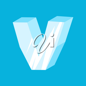 letter V ice font. Icicles alphabet. Frozen lettering. Iceberg ABC sign