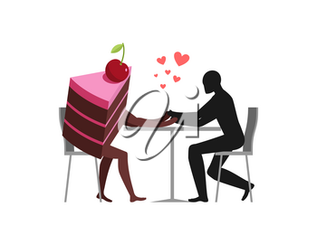 Lover of cakes. Man and piece of cake in cafe. Lovers sitting at table. Glutton of Lifestyle