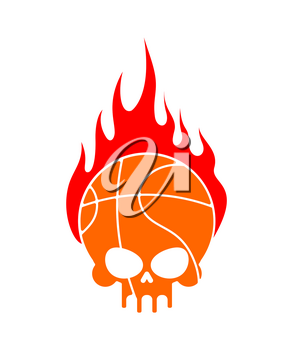 Skull basketball and fire. Ball is head of skeleton. Emblem for sports fans