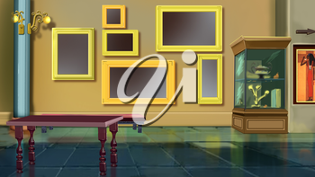 Digital painting of the Museum interior. With exhibits, stands and picture frames.