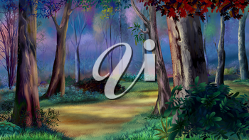 Digital painting of the Magic forest on sunset with path between trees