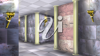 Digital painting of the Ancient maze with marble walls and torches.