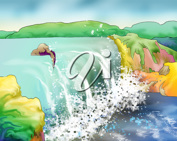 Digital Painting, Illustration of a beautiful waterfall in a summer day. Cartoon Style Character, Fairy Tale Story Background.