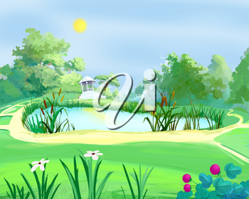 Digital Painting, Illustration of a small arbor near a pond in a summer park.  Cartoon Style Character, Fairy Tale  Story Background.
