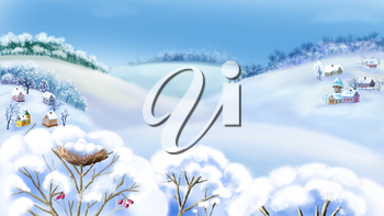 Romantic Rural Landscape in a Wonderful Frosty Winter Day.  Outdoor  New Year scene, handmade illustration  in a classic cartoon style.