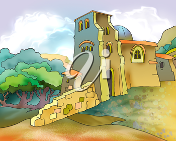 Old Medieval Fortress in Georgia. Digital Painting Background, Illustration in cartoon style character.