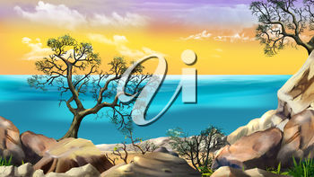 Sea View from the Cliff at Dawn against the Yellow Sky. Digital Painting Background, Illustration in cartoon style character.