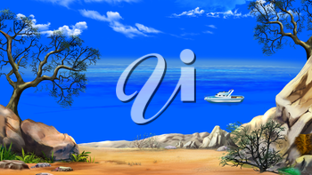 Sea View from the Cliff with modern yacht in a Summer day against the Deep Blue Sky. Digital Painting Background, Illustration in cartoon style character.
