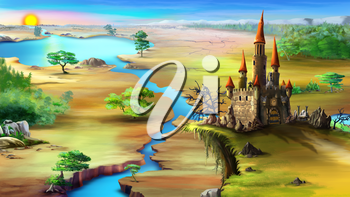 Magical fairy tale castle on a rock above the blue river in a summer morning. Digital painting background, Illustration in cartoon style character.