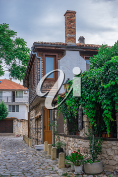 Nessebar, Bulgaria – 07.09.2019. Streets of the old town of Nessebar on a  summer evening