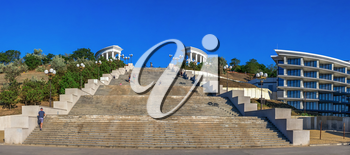Chernomorsk, Ukraine 08.22.2020. Maritime Stairs from seaside park to the public beach in Chernomorsk city on a sunny summer morning