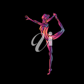 Creative silhouette of gymnastic girl. Art gymnastics pose, illustration or banner template in trendy abstract colorful neon waves style on black background