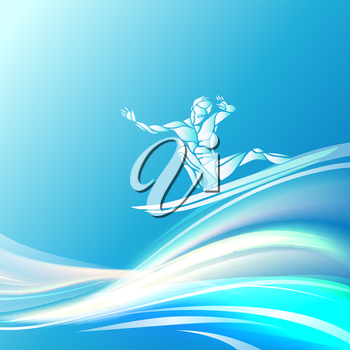 Creative silhouette of surfer. Water sports logo. Vector illustration Surf with me!