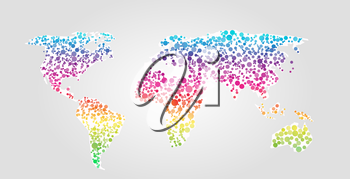 World map vector illustration in spectrum multicolor dots style on white background