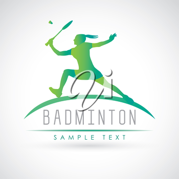 Badminton sports logo. Silhouette of professional female badminton player. Vector illustration