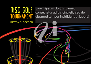 Disc golf sport, flying disc Frolf invitation poster or flyer background with sportsman silhouette and empty space, horisontal vector banner template