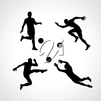 Football Players Collection in various Poses. Soccer players collection