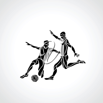Soccer or football players kicks the ball. Abstract line art vector silhouette. Illustration on white background.