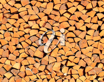 A stack of aspen firewood for background