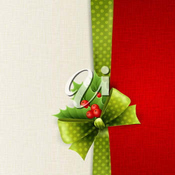Vector Christmas card with green polka dots bow and holly