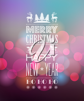 Vector  Abstract Christmas light background with retro typography