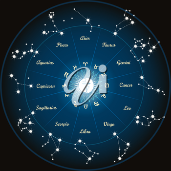 Circle with zodiac constellations. Zodiac circle with moon and sun in center. Vector illustration