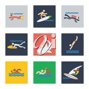 Sea sports flat icons with people and dangerous sea predator shark. Vector illustration