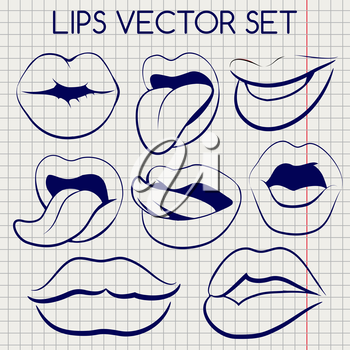 Lips silhouettes imitation ball pen vector on notebook page