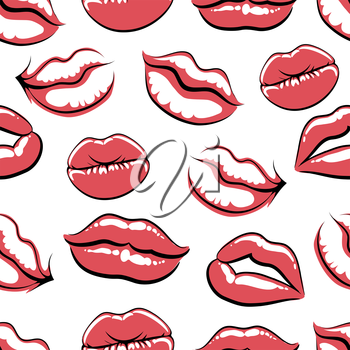 Pop art style mouth on white seamless texture. Vector illustration