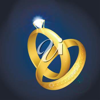 Pair of golden wedding rings with diamond. Vector illustration