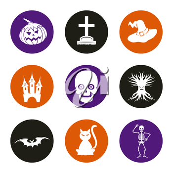 Halloween icons set with cat pumpkin headstone skull. Vector illustration