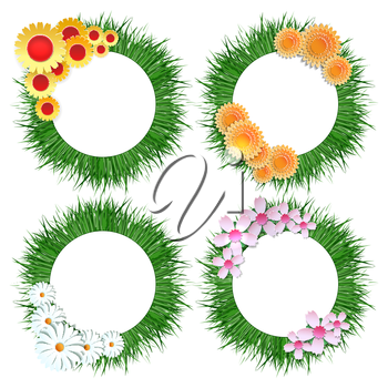 Grass wreath with flower bouquet set vector isolated on white