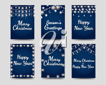 New year and christmas cards template with illuminated garlands vector