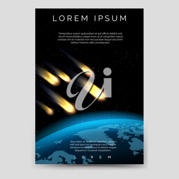 Brochure flyer template with meteor shower and globe map vector, A6 size
